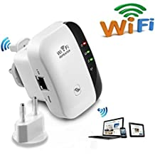 Extensor de red WiFi 300Mbps Mini Wireless Extensor de Rango Inalámbrico AP Amplificador Enrutador Repetidor Booster Wireless-N 2.4GHz Universal EU Enchufe (N300,WPS)