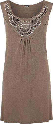 WearAll - Damen Übergröße ärmellos spikes Top - 13 Farben - Größe 40-54 Mokka