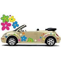 Pegatina de automóvil Hippie Flores Amores y Paz Plower Power Hippie 034 (8)