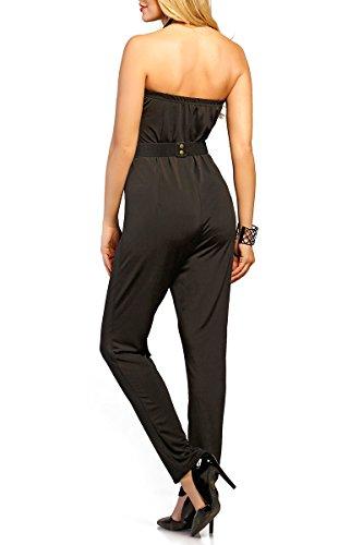 INFINIE PASSION - Ceinture noire et dorée - Combinaison pantalon noire Noir
