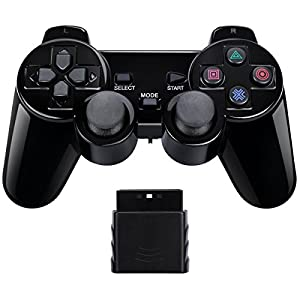 Wireless Controller Gamepad Twin Shock für PS2 Playstation2 (Jet Black)