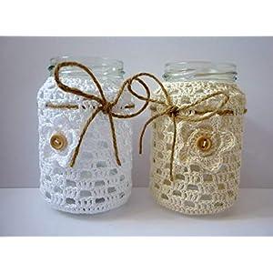 2x Windlichter, Teelichtgläser umhäkelt, weiß und natur