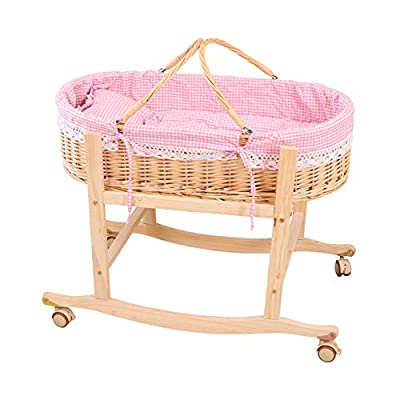 GOUO@ Baby Moses Basket Newborn Crib Baby Shopping Basket Baby Cradle Car Sleeping Basket Rattan Baby Cradle Bed