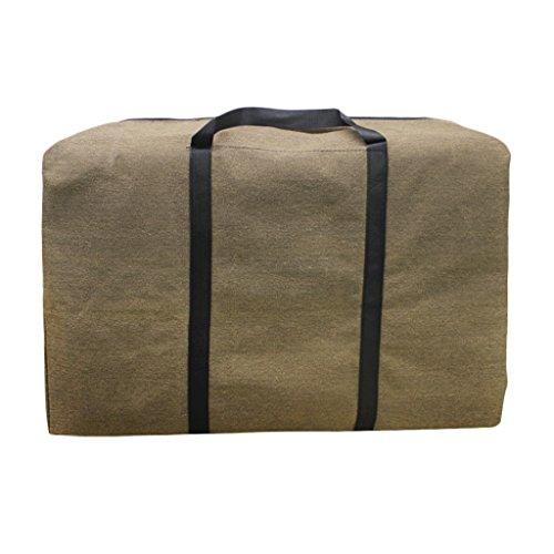 BXT Stabile Dicke Jumbo Leinwand Aufbewahrungstasche Unter Bett Allzwecktasche Seesack mit Handgriff (Braun) (Waschen Auto Spielzeug)