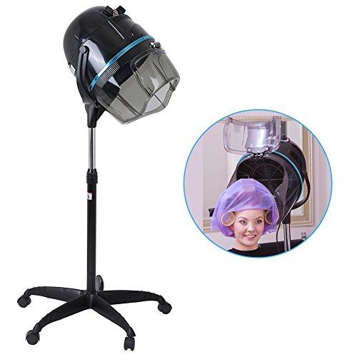 Casco asciugacapelli professionale in piedi con cappuccio timer regolabile temperatura, parrucchiere attrezzatura per barbiere salone, potenza: 1000 w, altezza regolabile con base rotolata, nero