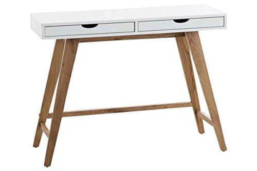 CLP Konsolentisch SAN JOSE mit robustem Eichenholzgestell | Bürotisch mit 2 Schubladen und großer Arbeitsfläche | In verschiedenen Größen erhältlich Weiß