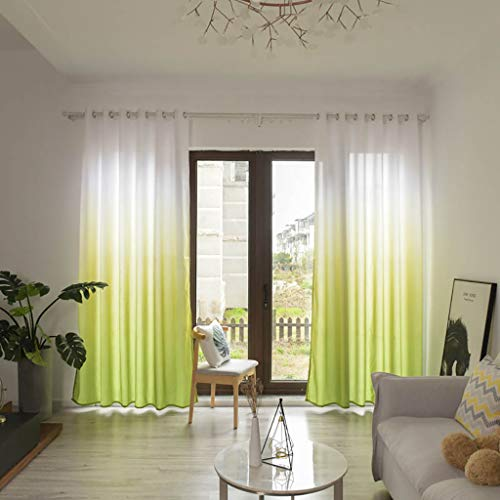 letter54 2019 gardinen Set Blätter 270x100cm Transparenter Curtain Tüll Fenster, Treatment Voile Drape Volant Panel 1 Fabric (Volant Vorhänge Für Das Bad)