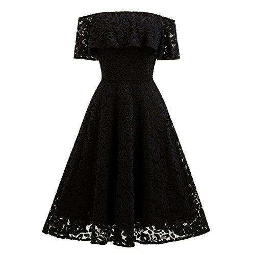Damen Kleid,FRIENDGG,Damen Kleider Elegante Lange,Aus der Schulter Kurzarm Ballkleid Abendkleid für...