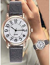 XKC-watches Relojes de Mujer, Mujer Reloj de Pulsera Cronógrafo Esfera Grande Piel Banda