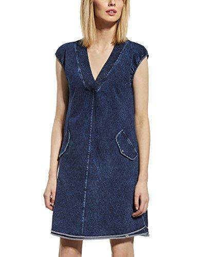 Ennywear 230061 Robe Feminine Bicolore Top Qualité Manches Courtes Col V Cotton Souple- Fabriqué En UE Bleu Marine