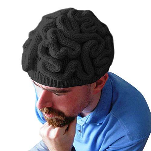 70er 80er Jahre Kostüm Paare Und - Lazzboy Halloween Kopfbedeckung Dekoration Handgestrickte Persönlichkeit Gehirn Hut Kinder Erwachsene häkeln Beanie Cool Cerebrum Cap(Schwarz)