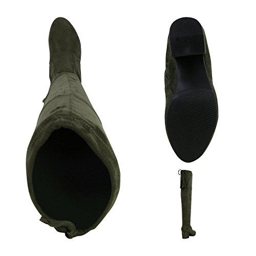 Stiefelparadies Modische Damen Stiefel Profil Sohle Overknees Block Absatz Flandell Dunkelgrün Schleifen Agueda