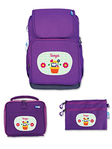 UniQBees Combo Pack - Personalised School Bag, Lunch Bag & Pouch (Class 3 To 6-Pots)