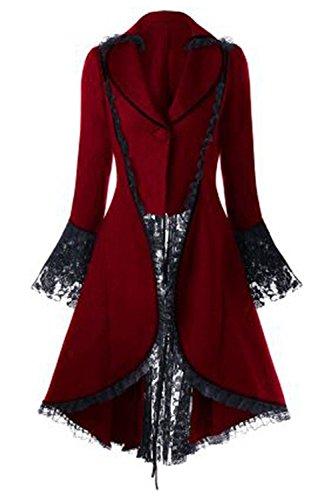 Ditshore Damen Viktorianische Gothik Jacke Frack mit Spitze und Schnürung,Elegante Lange...