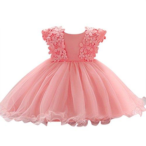 Vestito floreale bambino con increspature in tulle per la cerimonia di sera abiti battesimo abitini battesimo le neonate principessa abito sposa festa compleanno (rosa, 12m)