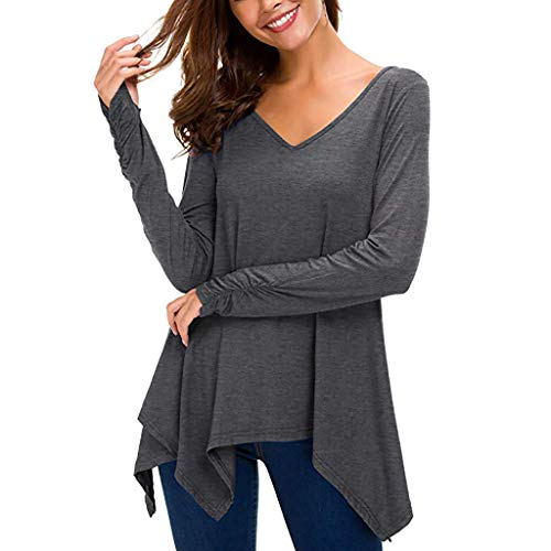 ESAILQ Frau LäSsige Solide Bluse Langarm Taschentuch Tunika V-Ausschnitt Top Shirt(Medium,Dunkelgrau)