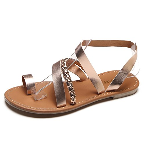 Sandalias de vestir para mujer, sandalias mujer verano bohemias plataformas niña camper mujer Chancletas Zapatillas Slim Chanclas Mujer Zapatillas de verano casuales Sandalias planas Zapatos de playa (Oro Rosa, Talla 42)