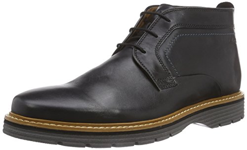 Clarks Newkirk - Stivaletti Uomo, Nero (Black Leather), 44 EU
