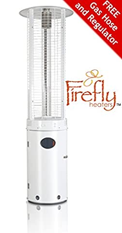 Firefly 15kW Samos Outdoor Gas Patio Heater White with Hose and Regulator