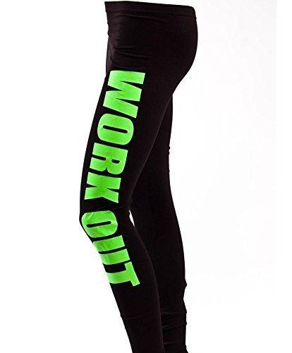 Loomiloo Leggings Yoga Pants Hosen Training Workout Statment Print Aufdruck Neues Modell Squat Fitness Sport Schwarz/Grün