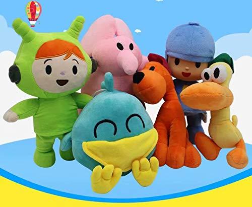 6 Piezas Pocoyo y Sus Amigos Mini muñeca de Peluche de Dibujos Animados Pocoyo Elly Pato Loula Peluche de Peluche de Felpa Figura de Juguete Muñeca de Regalo para niñas Niños Sleepy Bird Pillow Toy