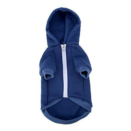Semme Haustier Lässige Kostüm, Zip Up Haustier Hoodie Hund Warme Kapuzen Kleidung Welpen Outfit Lässige Kapuze - Blau Kapuzen Mantel Kostüm