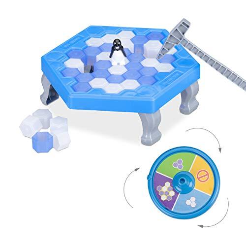 Relaxdays 10024988 Pinguin Trap, Save The Penguin, für Kinder, Lernspiel, ab 3 Jahre, für 2-4 Spieler, blau - Runde Spiel-tisch