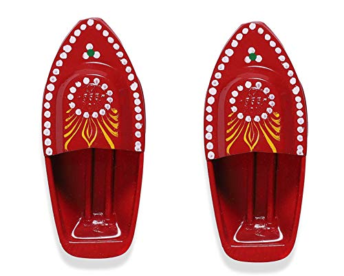 KRIWIN Set of 2 Red Hand Painted Fun Steam Powered Tin Toy Boat Nav Pop Put Putt Candle Powered Fuel Flame with Free Dropper and Candle