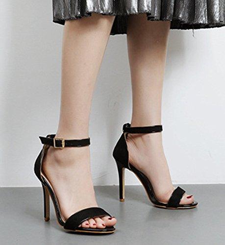 Aisun Femme Elégant Boucle Talon Haut Aiguille Sandales Noir