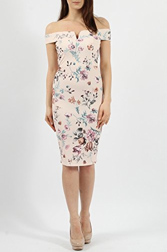 Damen V -cut Blumen Midi figurbetontes Kleid EU-Größe 36-44 Bardot-Akt