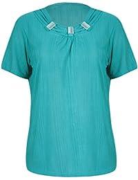 26ce05edfe9a Purple Hanger Damen Kurzärmlig Damen Stretch runder Halsausschnitt gerüscht  wulstig Falte Bluse T-Shirt Oberteil
