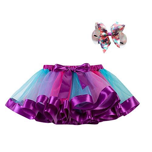 WOZOW Tutu Rock Kleinkind Bunt Regenbogen Bowknot Haarspange Tanzkleid Festliche Minirock Halloween Weihnachten Neujahr Fasching Mädchen Tüllrock Chiffon Drop