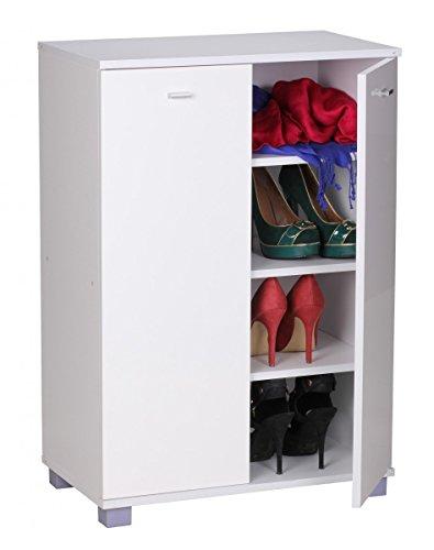 FineBuy Design Schuhschrank TANJA modern Holz Weiß 12 Paar Schuhe 4 Fächer 2 Türen | Schuhregal...