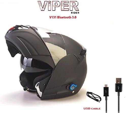 Moto Casque Bluetooth VIPER V131 Modulaire Casque Scooter Casque Noir Mat L