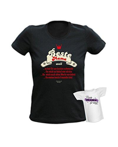 cooles Fun Tshirt Motiv: Beste Mama weil ideal als Geschenk - inklusive einem Mini T-Shirt - für Sie und Ihn Farbe: schwarz Schwarz