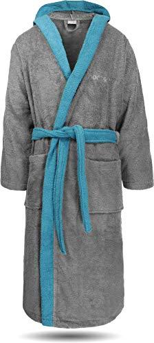normani 100% Baumwoll Bademantel Saunamantel zweifarbig und einfarbig mit und ohne Kapuze für Damen und Herren [Gr. XS - 4XL] Farbe Grau/Blau Größe XL