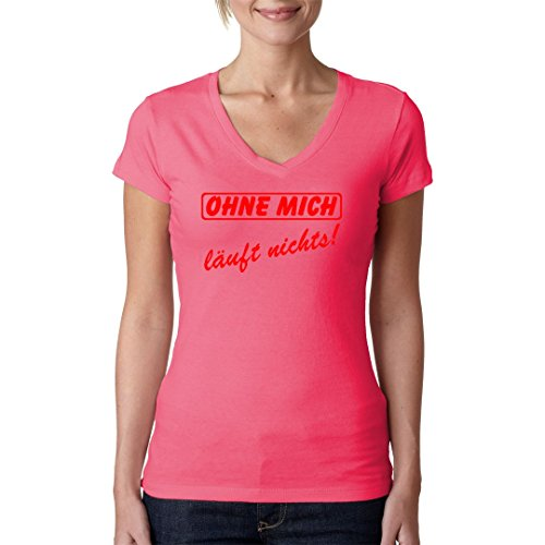 Fun Sprüche Girlie V-Neck Shirt - Arbeit Spruch: Ohne mich läuft nichts by Im-Shirt Light-Pink