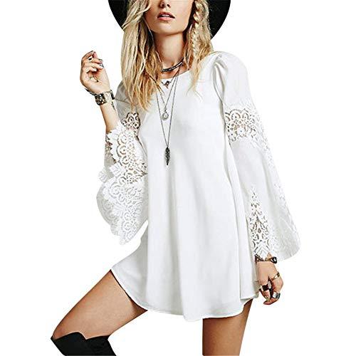 MISSMAO Damen Sommer Spring Ärmellos Weiß Kleid Minikleid Abend Partei Ballkleid Spitze Weiß M -
