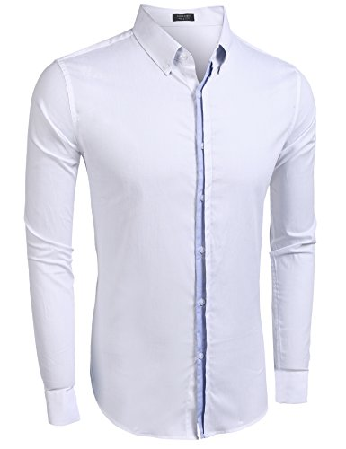 Burlady Herren Hemden Shirt Langarm Slim Fit Casual Business Kentkragen Hemd B Weiße