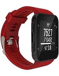 OverDose Reemplazo de la moda de los deportes de silicona banda pulsera pulsera para Garmin Forerunner 35 GPS Watch (Rojo, 15cm-22cm)