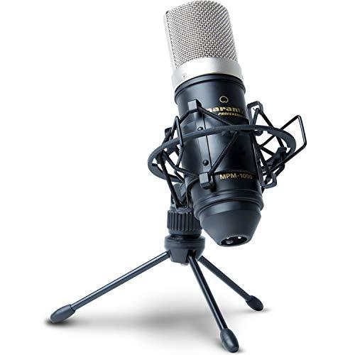 MPM1000 - Professional Studio Rundfunk Aufnahme Großmembran Kondensatormikrofon-Set mit Windschutz/Pop Schutz Filter, Shockmount, Tripod Ständer und XLR Kabel für Zuhause, Studio ()