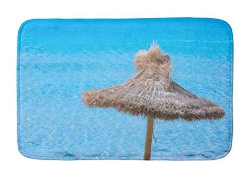 Zoyaley Fußmatte Welcome-Matte für drinnen und draußen, mit Rutschfester Unterseite, 40,6 x 61 cm, Strandschirm mit türkisblauem Meeresbad