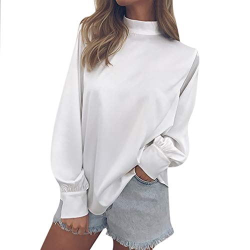 UFACE Damen lose Rollkragen Laterne Hülse Chiffon Top Chiffon Solid T-Shirt Büro Damen Laterne Ärmel Bluse Tops(Weiß,EU/48CN/XL)