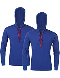 Feed Up Men's Hooded Cotton Tshirt Pack of 2