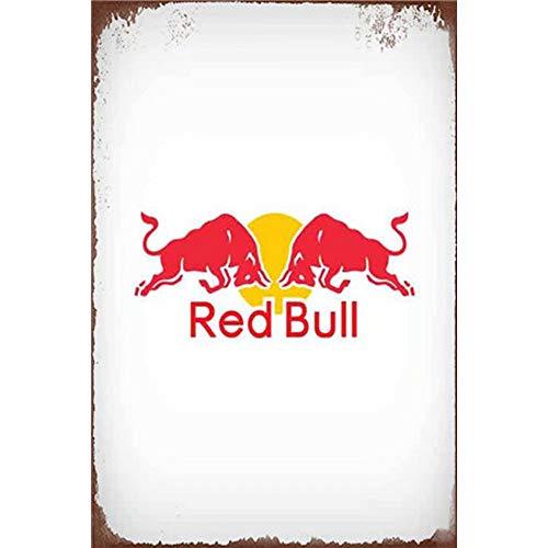 Easy Painter Vintage Blechschilder Red Bull Metall Gemälde Wandkunst Garage Hot Shop Bar Schilder 20 x 30 cm - Vintage Bull