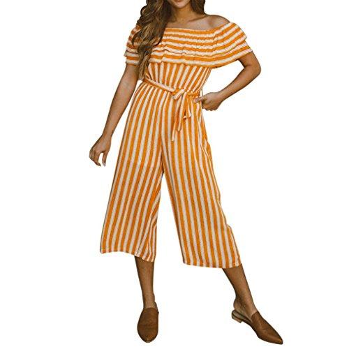 ESAILQ Jumpsuit Damen Elegant Kurz Playsuit Blumenstickerein ärmellos V-Ausschnitt Overall Romper Jumper(XL,Orange)