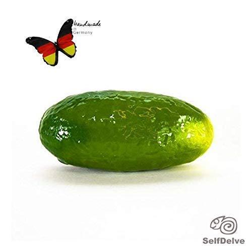Gewürzgurke XL: extrem dicker Gemüsedildo aus sehr weichem Silikon mit Farbwechsel bei Erwärmung, handbemalt, für Beckenbodentraining geeignet