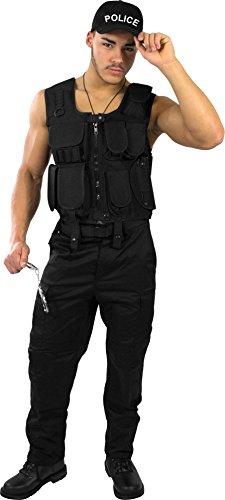 Preisvergleich Produktbild normani SWAT Police Security Kostüm bestehend aus Weste,  Hose,  Pistolenholster,  Handschellen und Basecap Farbe Police Größe M