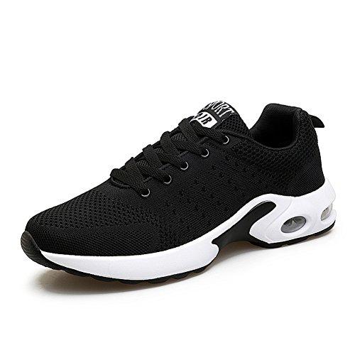 MIMIYAYA Damen Herren Sportschuhe Laufschuhe Bequeme Air Laufschuhe Schnürer Running Shoes Mode und Freizeit Black 44