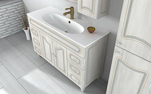 Arredo Bagno 120cm Mobile Arte povera Bianco decapè con Specchio Mobili  lavandino in Ceramica I